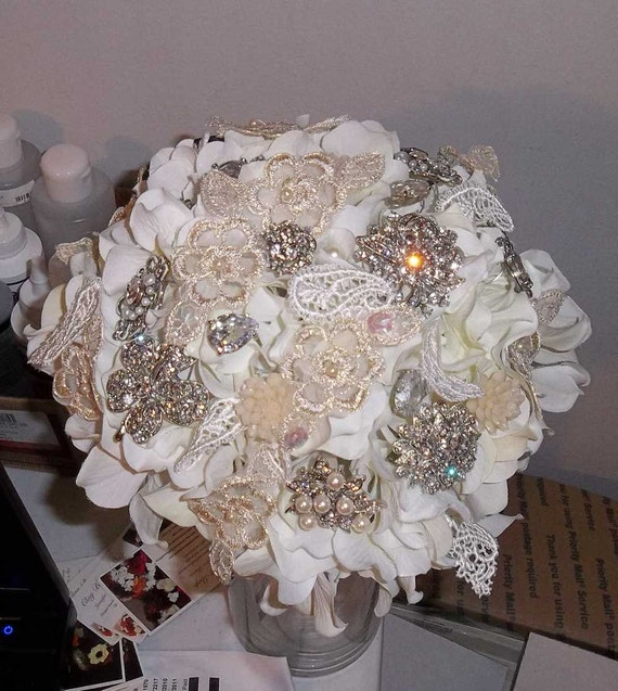Reserved - Brooch Wedding Bouquet for Tife