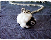 White Sheep Necklace - White and Black Resin Sheep Charm on a Delicate Silver Plated Cable Chain or Charm Only