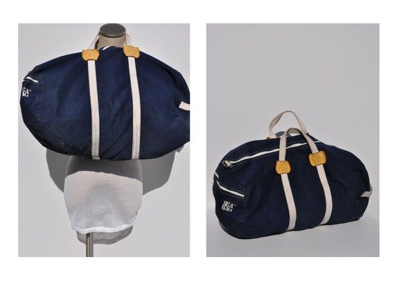 SEA BAG vintage duffle bag vintage duffel bag canvas tote canvas carry on duffle bag duffel bag