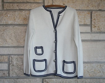 Vintage 1960s Nautical Cardigan Sweater / Navy and White Sweater