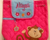 Stephen Joseph Personalized Monogrammed Girl Monkey Backpack
