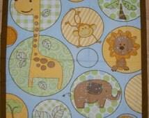 An Adorable Jungle Dots Jungle Animals Fabric Panel Free US Shipping