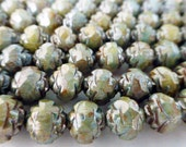 50 Czech Glass 6mm Fire Polish Round Rose Beads with Picasso Sage Green Luster Finish