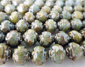 50 Czech Glass 8mm Fire Polish Round Rose Beads with Picasso Sage Green Luster Finish