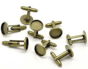 10pcs WHOLESALE Cufflink Blanks - Bronze Cuff Link Findings Circle Blank Tray Fit 12mm - Bronze Bezel Cufflinks Bezel Picture Tray Blank A14
