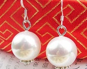 Gorgeous South Sea Shell Pearl Earrings 12mm Round Pearl with Sterling Silver hooks Swarovski Pearl Jewelry for Bridesmaids