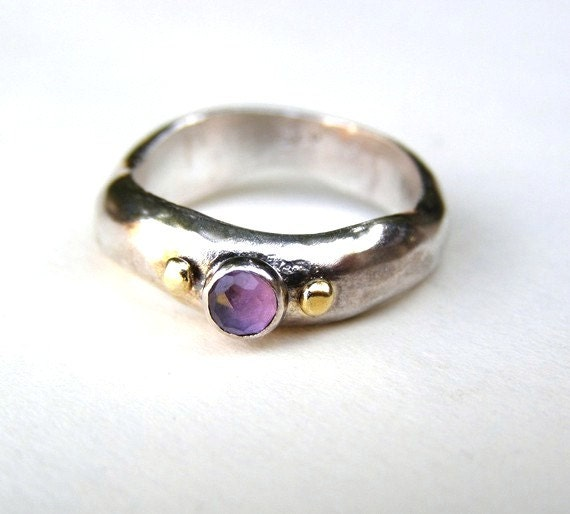 SALE Amethyst ring Engagement Ring Silver ring 14k Gold  ring size 7