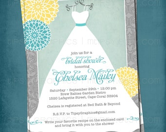 Lace Mums. Something Blue. Bridal Shower Gown Invite by Tipsy Graphics. Any colors and text.