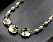 Citrine gemstone and white freshwater pearl strand necklace, wire wrapped, 14k gold filled, pearl necklace, yellow, golden, Mimi Michele