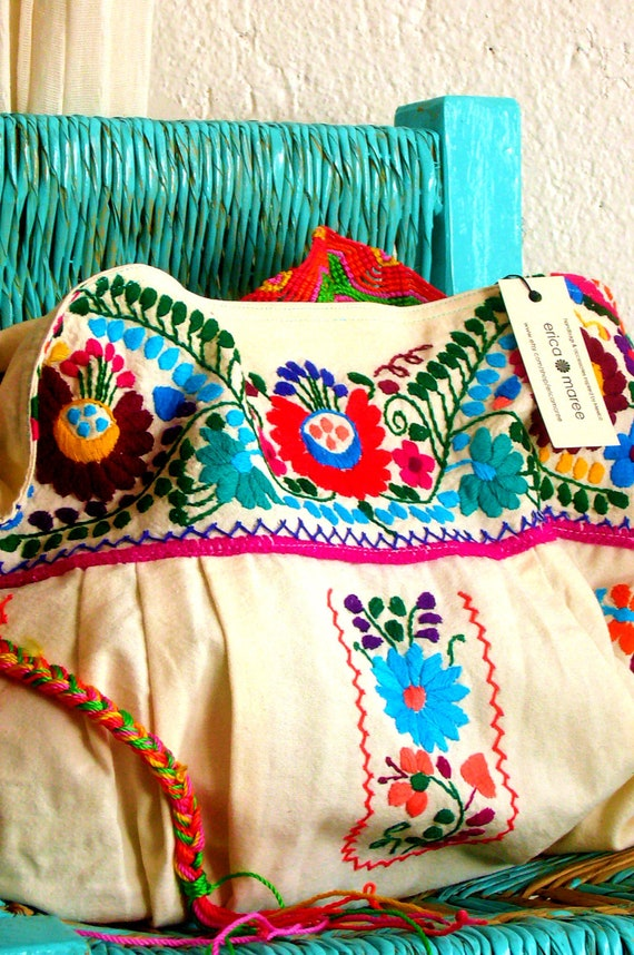 Mexican embroidered cross body purse with macrame strap