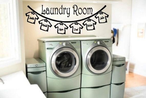 Laundry Room Clothes Line Custom Name Shirts Vinyl Decal Wall Art Home Decor