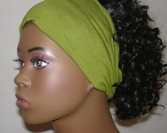 Knit Hair Tube Olive Green