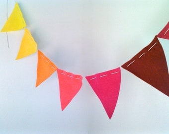 Bunting Flags- Ombre Sunset Colors eco felt pennants Yellow, Orange, Pink, Burgundy