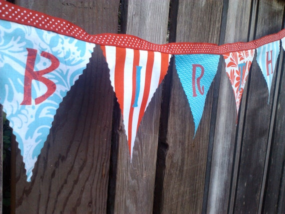 Birthday Banner Pennant Flags in Red,Turquoise and White Whimsical Patterns