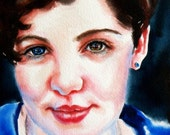 watercolor portrait painting original fine art beautiful woman with unique blue and hazel eyes
