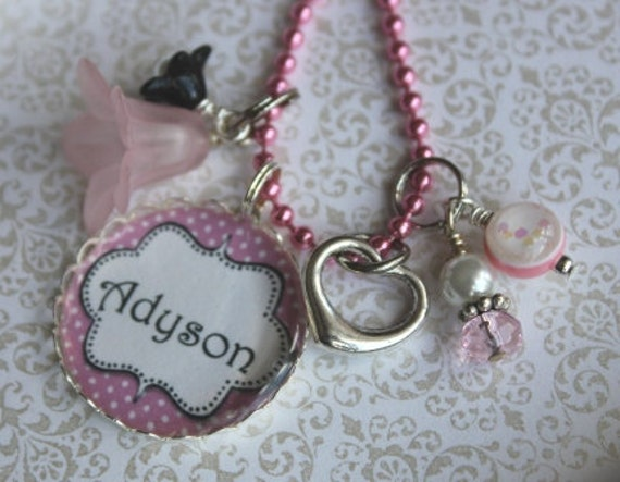 Personalized Girls Necklace Pendant Pink Heart Flower Girls Custom Jewelry Accessories