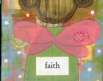 Faith, angel, inspirational wall art, typography print