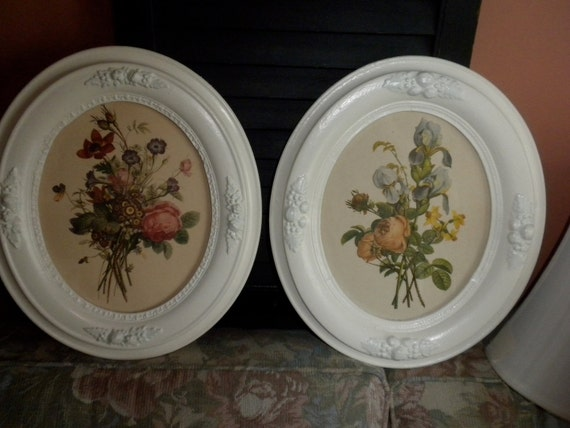 Pair of Vintage Floral Wall Pictures