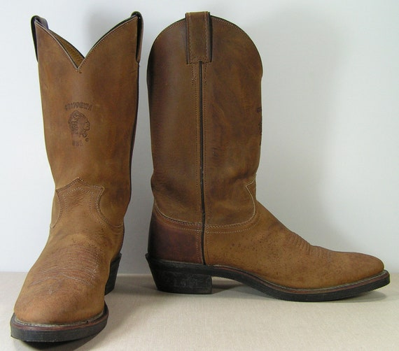 chippewa cowboy boots mens 9.5 b brown distressed leather