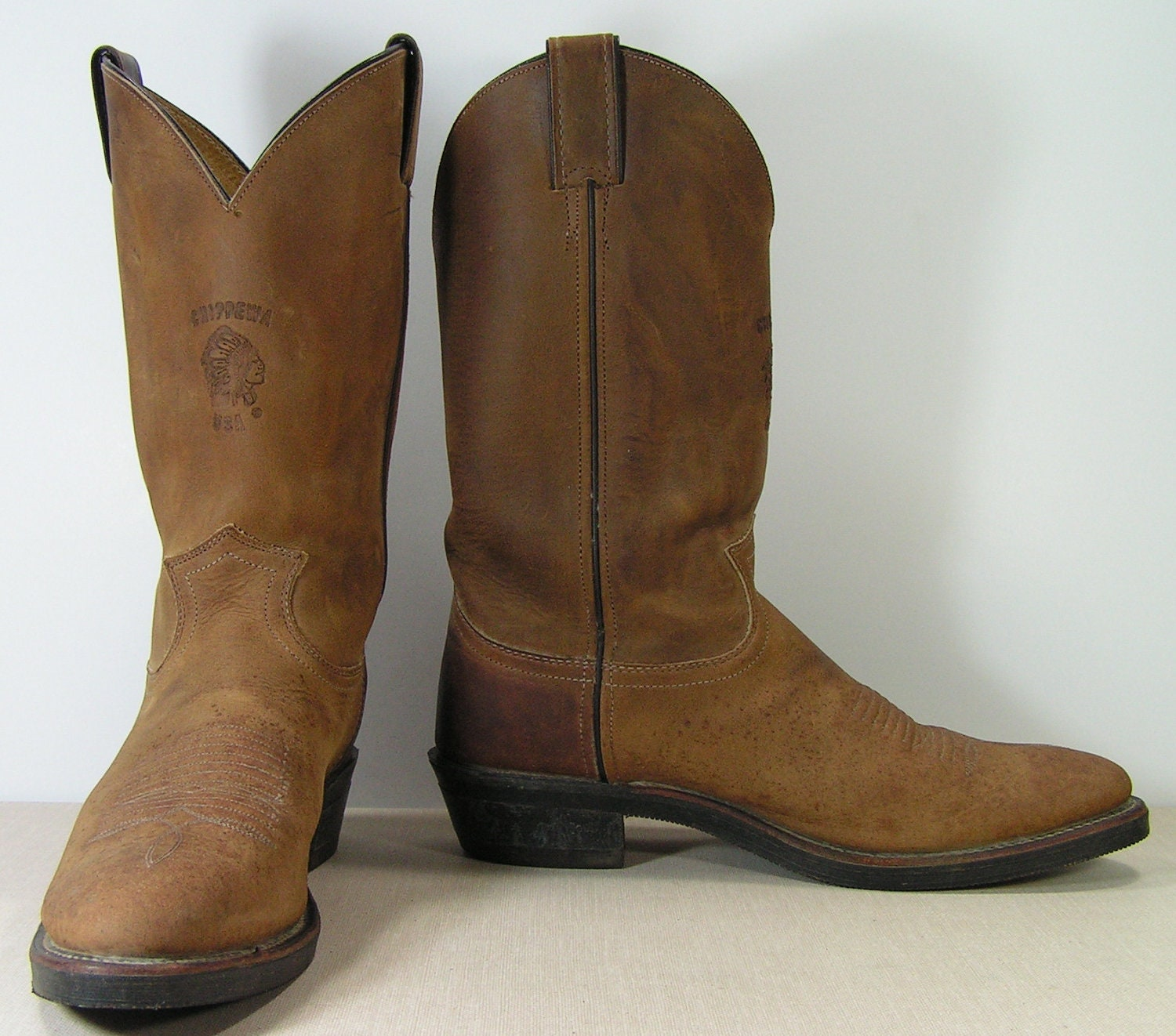 chippewa cowboy boots mens 9 5 b brown distressed leather