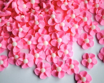 Pink Royal Icing Flowers with Sparkles and White Matte Sugar Pearl Centers (50)
