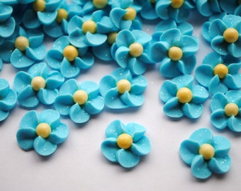 Forget Me Nots- Royal Icing Flowers LIght Blue with Yellow Matte Sugar Pearl Center and Sparkles (50)