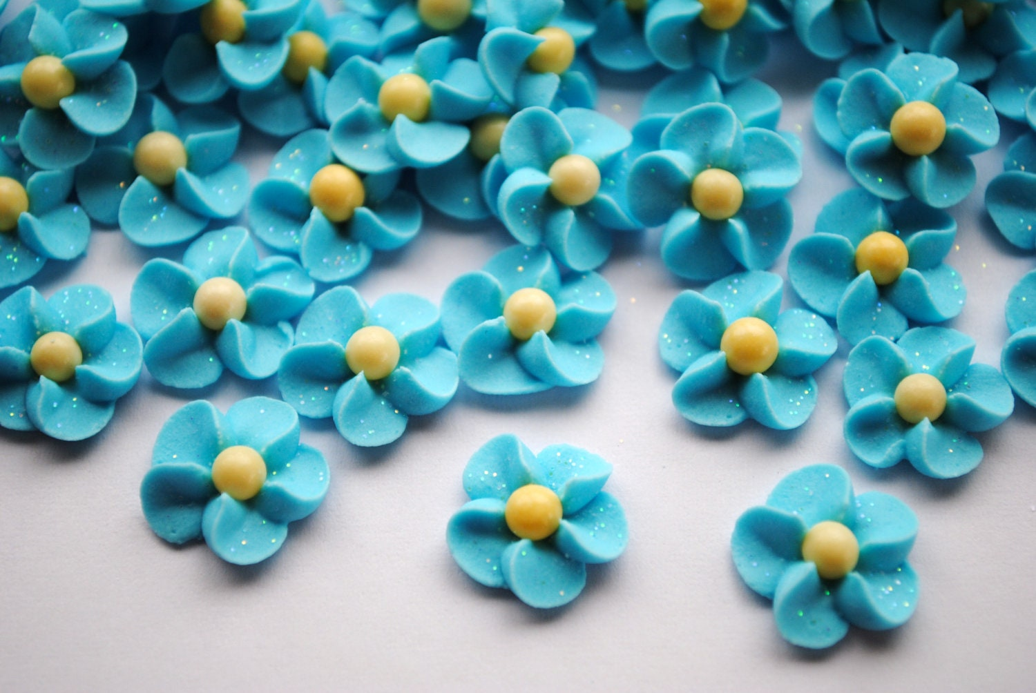 Forget Me Nots Royal Icing Flowers LIght Blue with Yellow