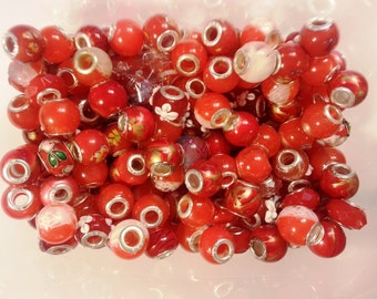 20 BeadsRed Mixed Large Hole  Beads fit European Jewelry