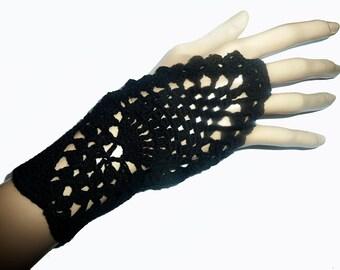 Black Crochet  Fingerless Gloves Mittens, Hand Jewelry, Hand Warmers Fishnet  Woman, For her
