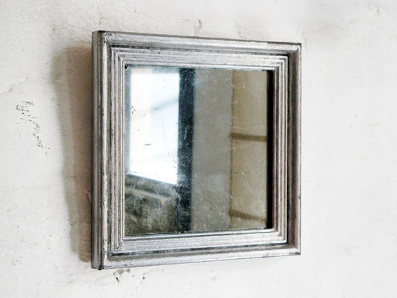 Silver Mirror Wall Photo Frame: Silver Square Mirror Vintage Frame