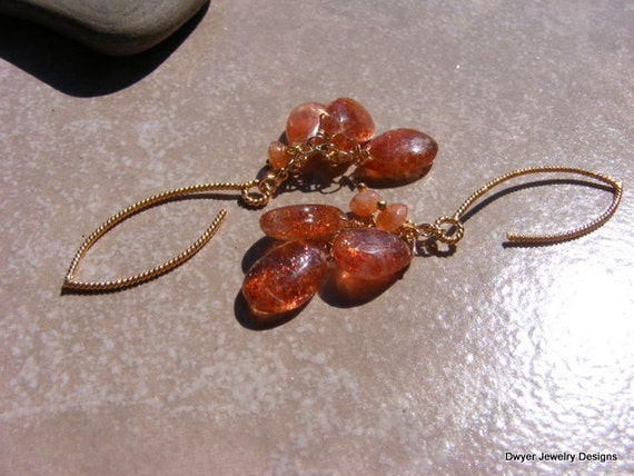 Sunstone Dangle Earrings.