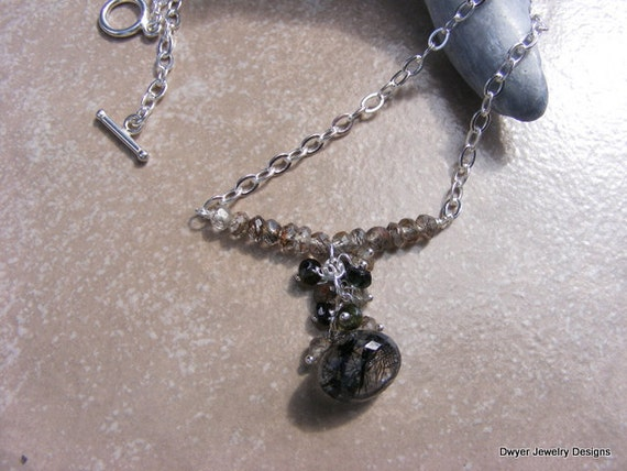 Goth Inspired Necklace of Tourmalated Quartz and Tourmaline.