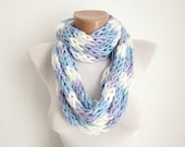 Finger Knitting Scarf Blue Lilac White Multicolor Necklace Colorful  Long Winter Accessories -chain loop scarf