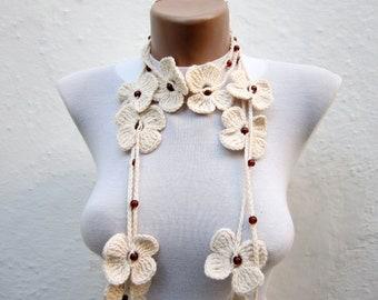 Crochet, Lariat Scarf, Flower Crochet Scarf, Long Necklace, Crochet bead work, Bohemian Scarflette, Crocheted Accessories