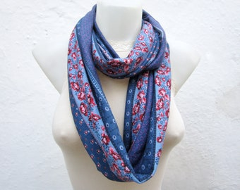 Infinity Scarf, Loop Scarves, Neckwarmer, Necklace Scarf, Circle Floral Accessories, Eternity, Tube Scarf, Combed Neckwarmer, Blue Pink Red