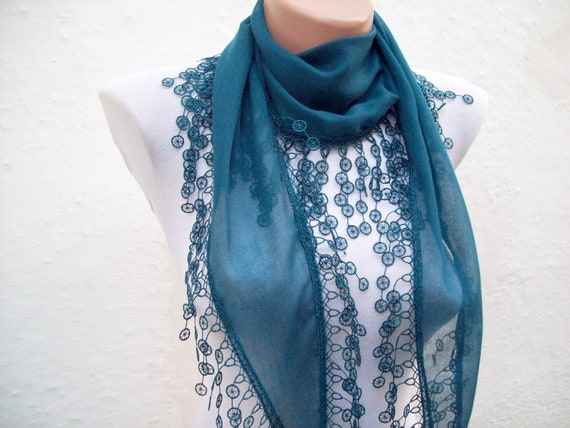 Turkish Fabric Scarf-Guipure Scarf -Teal Green-Fringed