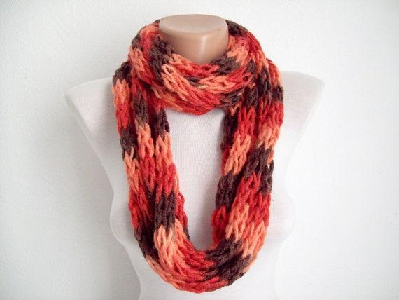 Finger Knitting Scarf Red Brown  Multicolor Necklace Colorful Variegated Long Winter Accessories-chain loop scarf