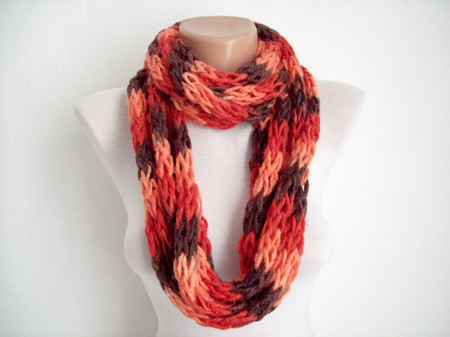 Finger Knitting Scarf : Finger knitting scarf red brown multicolor necklace colorful