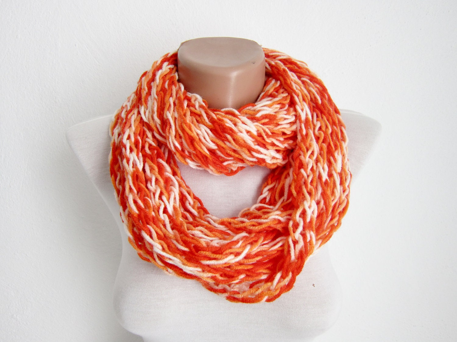 finger knitting scarf orange multicolor necklace