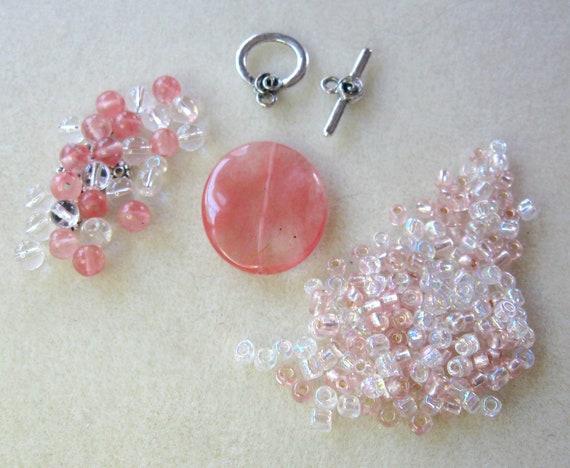 DIY Cherry Quartz Crystal Quartz Glass Pewter Focal Pendant Beads Kit
