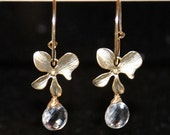 Quartz earrings, grade AAA rock crystal drop earrings, gold filled hoop earrings, orchid flower earrings