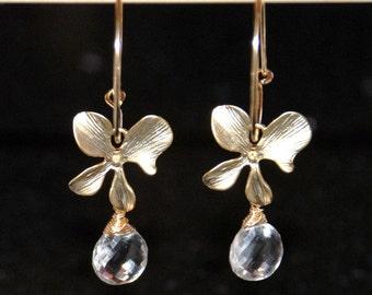 Quartz earrings, grade AAA rock crystal drop earrings, gold filled hoop earrings, orchid flower earrings