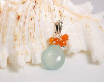 Aqua Chalcedony and carnelian pendant necklace in silver, sterling silver necklace, everyday jewelry