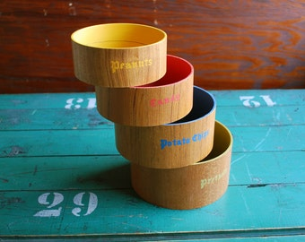 Nesting Snack Bowls, Wood Bowls , Natural Wood Grain with Primary Colors Painted Inside