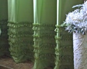 Shabby Chic - Cottage- Beach - Washed - Pear Green -  Cotton Ruffles Shower Curtain