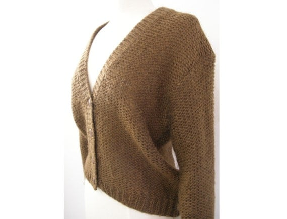 CLEARANCE SALE Vintage Lightweight Knit Brown Cardigan Sweater or Pullover Dark Brown - Medium