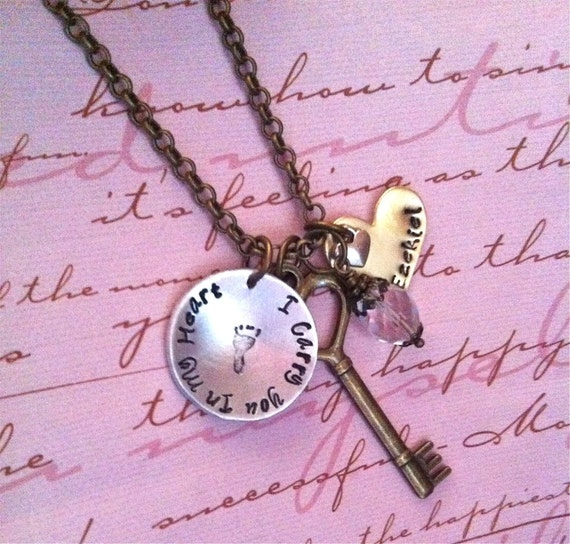 NEW-I Carry You In My Heart & Key...Hand Stamped Charm Necklace