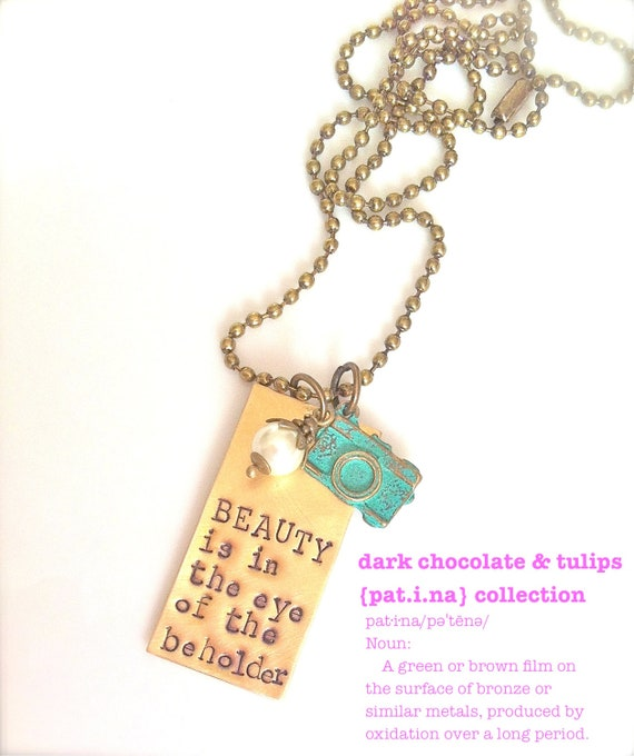 READY To Ship...NEW-Pat.i.na Collection..Hand Stamped..Beauty Is..