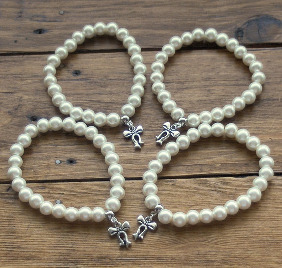 4 Ivory Pearl Bracelets with Bow Charm, Bridesmaid Gifts