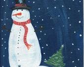 Set of 2 Snowy Night Snowman Christmas  folk art  notecards  from original painting 4 1/4 x 5 1/2
